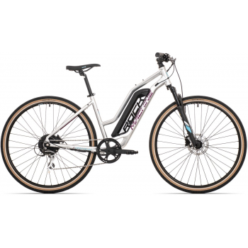 ROCK MACHINE Cross e350 lady gloss silver/dark crimson/neon cyan (500Wh)
